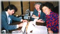 Christine on the radio in Prague (1990) immediately after the fall of Communism.